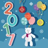 New year 2017 balloons and teddy bear stock illustration