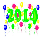 New year 2014 with balloons. New year 2014 with balloons - vector illustration Royalty Free Stock Photo