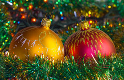 New Year Balls. Gold and red New-Year tree decoration very close-up royalty free stock photography