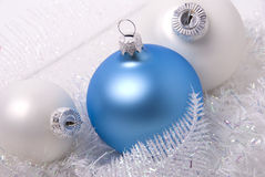 New-year balls. New-year toys blue and white balls Royalty Free Stock Photo