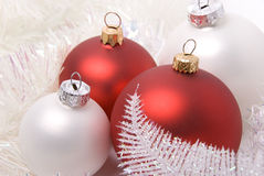 New-year balls. New-year toys four red and white balls Royalty Free Stock Photos
