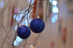 New Year. Balls ball blue ball toy Christmas bokeh atmosphere holiday Royalty Free Stock Images