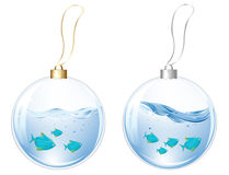 New Year Balls With Blue Fishes. Vector. New Year Glasses Balls With Blue Fishes In Water Inside, Isolated On white Stock Photography