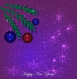 New Year. Balls on the branches of a Christmas tree. Vector illustration on a purple background.  Royalty Free Stock Images