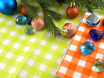 New year balls, christmas tree and stones set, holiday invitation card Stock Images