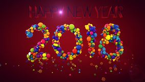 New Year Balls Display 2018. A congratulatory 3d illustration of New Year balls and other coloreful figures keeping together and making 2018 in the purple Royalty Free Stock Image
