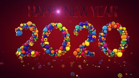 New Year Balls Display 2020. A hilarious 3d illustration of New Year balls and other coloreful shapes keeping together and composing 2020 in the purple Stock Photo