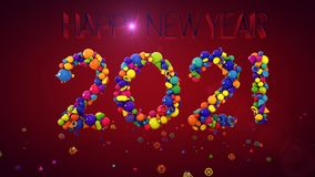 New Year Balls Display 2021. A jolly 3d rendering of New Year balls and other multicolored forms keeping together and composing 2021 in the purple background Royalty Free Stock Photography