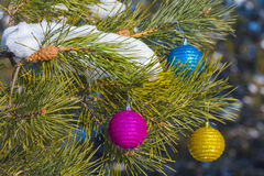 New year balls on a fir tree Royalty Free Stock Photo
