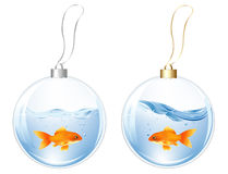 New Year Balls With Fishes In Water. Vector. New Year Glasses Balls With Blue Fish And Goldfish In Water Inside Royalty Free Stock Image