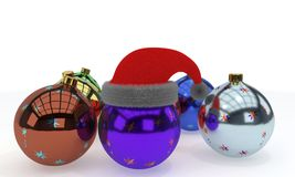 New Year balls and hat, 3d rendering Stock Image