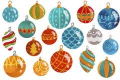 New year balls pattern illustration set watercolor. Seamless royalty free illustration