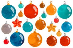 New year balls pattern illustration set watercolor royalty free stock photo