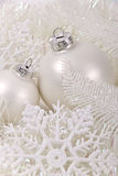 New year balls and snowflake Royalty Free Stock Photography