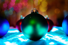 New year balls tree decoration with bokeh background Stock Photo