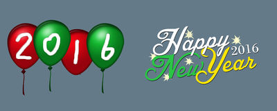 New Year on Baloon banner gray background Stock Images