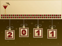 New year banner. In green and red with hanging decorations Stock Image