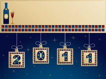 New year banner. In blue and red with hanging decorations Royalty Free Stock Image