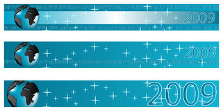 New year banner - 2009. New year 2009 banner with globe, blue tones vector illustration