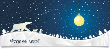 New Year banner with bears in the north Stock Images