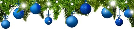 New Year banner with blue Christmas balls. Vector illustration Royalty Free Stock Photography