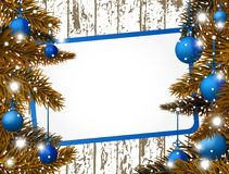 New Year banner with blue Christmas balls. Vector illustration Stock Photography