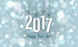 New Year banner with blurred circles and glitters in the background. Year 2017. Royalty Free Stock Images