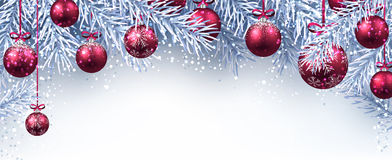 New Year banner with Christmas balls. Banner with Christmas balls and fir branches. Vector illustration Royalty Free Stock Images