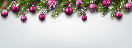 New Year banner with Christmas balls. New Year banner with Christmas balls and fir branches. Vector illustration Royalty Free Stock Images
