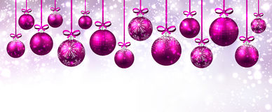 New Year banner with Christmas balls. Stock Image