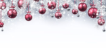 New Year banner with Christmas balls. New Year banner with pink Christmas balls. Vector illustration Royalty Free Stock Photos