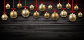New Year banner with Christmas balls. New Year wooden banner with golden Christmas balls. Vector illustration Royalty Free Stock Photography