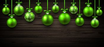 New Year banner with Christmas balls. New Year wooden banner with green Christmas balls. Vector illustration Stock Photo