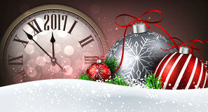 2017 New Year banner with clock. 2017 New Year banner with clock, balls and snow. Vector illustration stock illustration