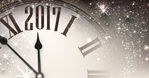 2017 New Year banner with clock. 2017 New Year gray shining banner with clock. Vector illustration Stock Photos