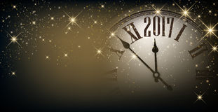 2017 New Year banner with clock. 2017 New Year gray sparkling banner with clock. Vector illustration Stock Image