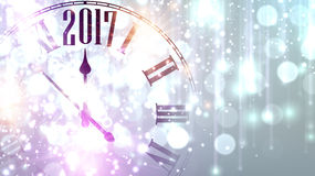 2017 New Year banner with clock. 2017 New Year lilac shining banner with clock. Vector illustration Stock Photography