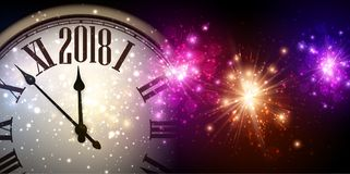 2018 New Year banner with clock. 2018 New Year banner with clock and colorful lights. Vector illustration Stock Image