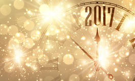 2017 New Year banner with clock. 2017 New Year shining banner with clock. Vector illustration Royalty Free Illustration