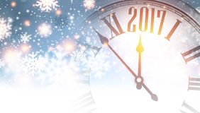 2017 New Year banner. 2017 New Year banner with clock and snowflakes. Vector illustration Stock Images