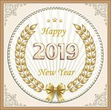 New Year banner with the date 2019 in a golden laurel wreath. Date 2019 in a golden laurel wreath and in a frame with an ornament vector illustration