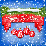 New Year banner decorated with red Christmas balls, Christmas tree branches, snow and snowflakes on blue background Stock Photo