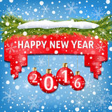New Year banner decorated with red Christmas balls, Christmas tree branches, snow and snowflakes on light blue background Royalty Free Stock Photography