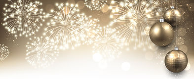 New Year banner with fireworks. Stock Images