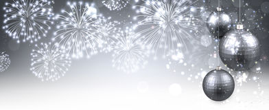 New Year banner with fireworks. Stock Photos