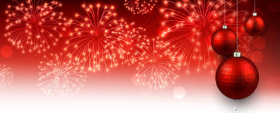 New Year banner with fireworks. Stock Image