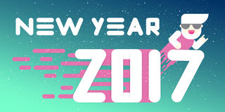 New Year 2017 banner. Flat design. Big white letters. Simple shapes. Vector illustration. template for calendar. Design vector illustration