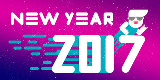 New Year 2017 banner. Flat design. Big white letters. Simple shapes. Vector illustration. template for calendar. Design Stock Images