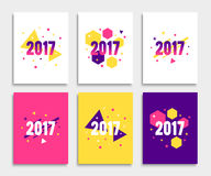 New Year 2017 banner or flyer layout set. In A4 size. Abstract geometric vector backgrounds collection. Illustrations for magazine cover or website banner Royalty Free Stock Photo