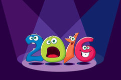 New year banner 2016 with funny crazy figures Royalty Free Stock Photos